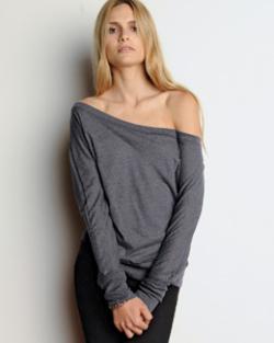 Bella Ladies 3.7 oz. Long-Sleeve Flowy Off Shoulder T-Shirt   Ladies Long Sleeve Tee Shirt