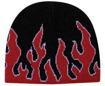 Otto Caps: Wholesale Flame Design Knit Beanie   CapWholesalers.com