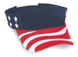 Cobra Caps: USA Flag Sun Visor   Wholesale Blank Caps & Hats   CapWholesalers