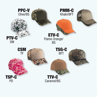 Cobra Caps: Can't Decide? Try An 8 Piece Cap Camo Sample Pack -CapWholesalers