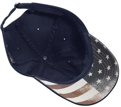 Cobra Caps: Wholesale Chino Washed Cap w/ Faded USA Flag Under Bill