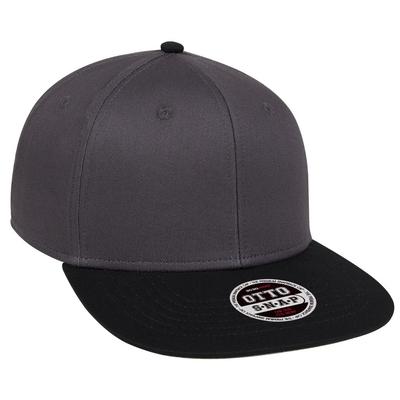 COTTON TWILL SQUARE FLAT VISOR OTTO 6 PANEL PRO SNAPBACK | FLAT BILLED HATS