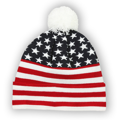 Outdoor Jacquard Stars & Stripes Fleece Pom Pom Beanie | Knit Beanies : Custom, Blank and Wholesale Beanies