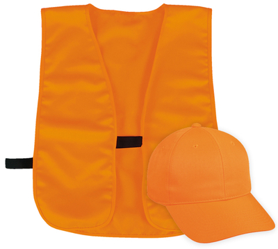 Outdoor Safety Blaze Cap and Polyester Vest Set | Wholesale Caps & Hats From Cap Wholesalers