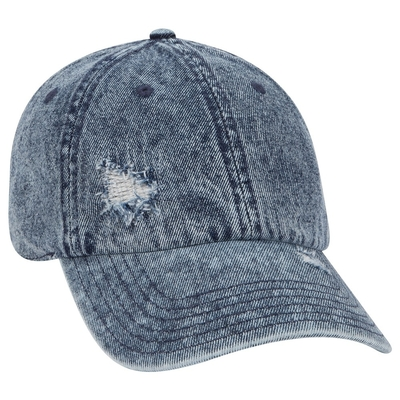 86f41301835 Otto 6 Panel Low Profile Distressed Snow Wash Denim Cap | Wholesale ...