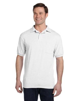 Hanes Adult 5.2 oz., 50/50 EcoSmart® Jersey Pocket Polo | Mens Short Sleeve Sport Shirts