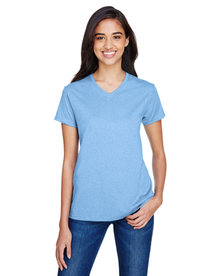 Find A4 Ladies Topflight Heather V-Neck T-Shirt In Stock at CapWholesalers.com