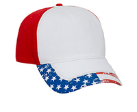 Otto-US Flag Pattern Distressed Visor Garment Washed Cotton Twill