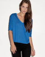Bella Ladies 3.7 oz Flowy V-Neck Cropped Half-Sleeve T-Shirt