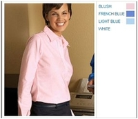 Harriton Ladies Long-Sleeve Oxford with Stain Release