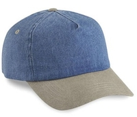 Cobra-5-Panel Washed Denim Sand Visor