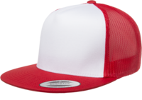 Yupoong Flat Billed White Front Trucker Mesh