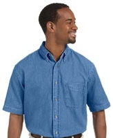 Harriton Mens Short-Sleeve Denim Shirt