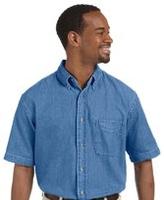 Harriton Mens Short-Sleeve Denim Shirt