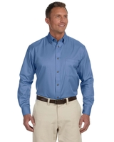 Harriton Mens Long-Sleeve Twill with Stain Release