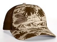 Richardson Trucker Island Pattern Twill Trucker  Mesh copy