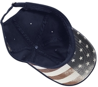 Cobra 6-Panel Chino Washed with Faded USA Flag Printed Under Bill