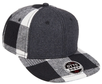 Brushed Wool Blend Plaid Squared Flat Visor 6 Panel Pro Snapback