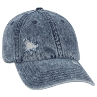 Otto 6 Panel Low Profile Distressed Snow Wash Denim Cap