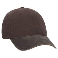 Image Cotton Canvas Garment Washed PU Coated Cotton Blend Visor 6 Panel Low Profile