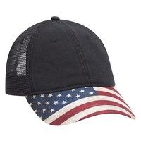 Otto American Flag Visor Garment Washed Superior Soft Mesh Back