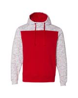 J America Adult Melange Color Blocked Hooded Sweatshirt