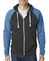J America Adult Triblend Colorblock Full-Zip Fleece Hood