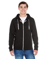 J America Adult Triblend Full-Zip Fleece Hood