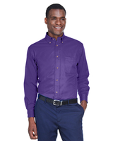 Harriton Mens Easy Blend Long-Sleeve Twill Shirt with Stain-Release