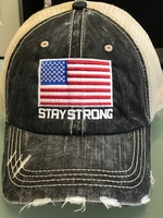 6 Panel Herringbone Distressed Mesh w/ Embroidered Stay Flag