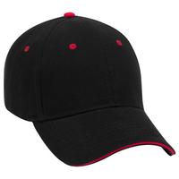 Image OTTO CAP 6 Panel Low Profile Baseball Cap Brushed Bull Denim Sandwich Visor