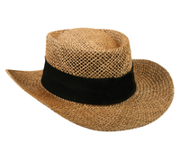 Outdoor Straw Gambler Hat w/Underbrim